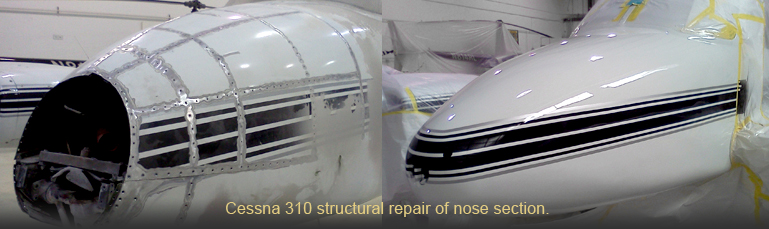Cessna 310 aircraft structural repair of nose section.