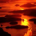 Scenic Flight Tour - Sunset over the San Juan Islands.
